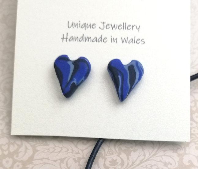 Blue Heart Stud Earrings