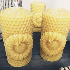 Sunflower bee candle300.jpeg