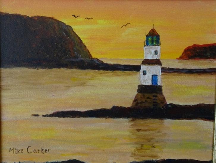 'Sunset at Penmon Lighthouse' Original Oil Painting