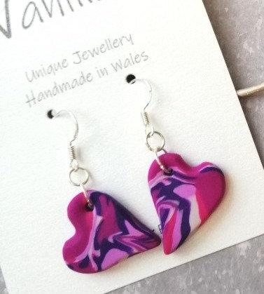 Fuchsia Heart Drop Earrings