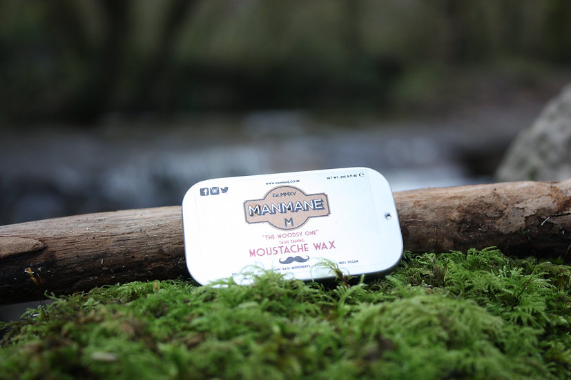"""""""Woodsy one"""" Moustache Wax 15g (Slide top tin)"""