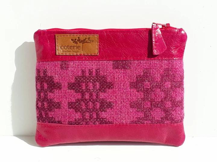 Leather & Welsh Wool Purse - Fuschia