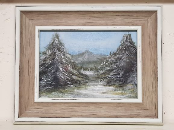 'Two Firs' Original Acrylic Painting-Framed