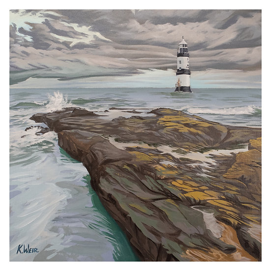 'Moody Winter Morning at Trwyn Du Lighthouse', Anglesey Print