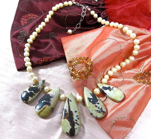Picture Jasper & Freshwater Pearl Necklace