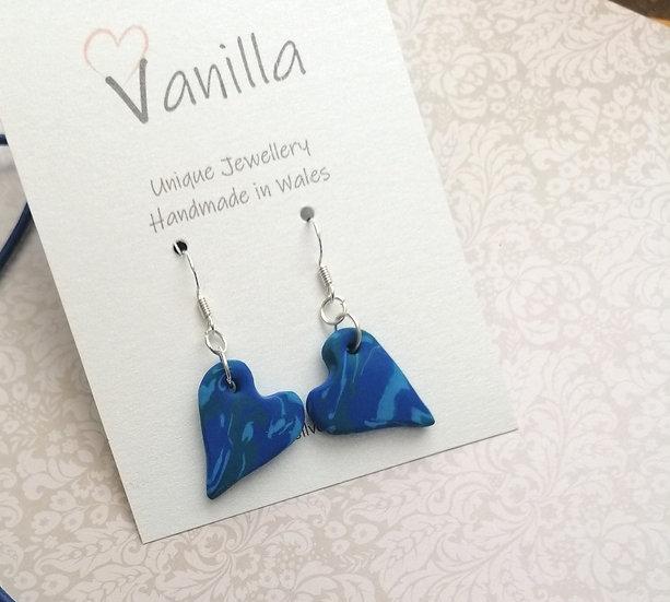 Blue Heart Drop Earrings