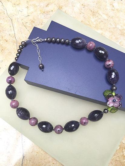 Purple Quartz, Fresh Water Pearls & Lampwork Bead Necklace