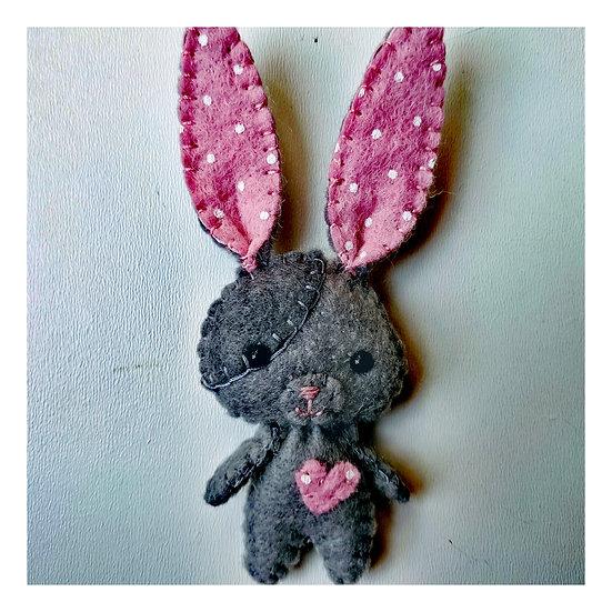 Miniature Felt Bunny in a Matchbox