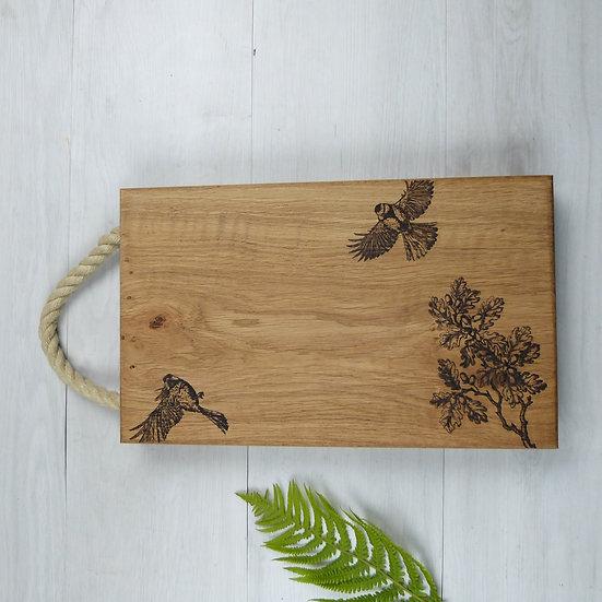 Solid Oak Birds & Branch Chopping Board