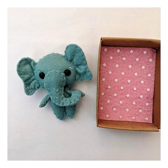 Miniature Felt Elephant in a Matchbox