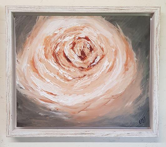 'Peach Avalanche Rose III' Original Acrylic Painting-Framed