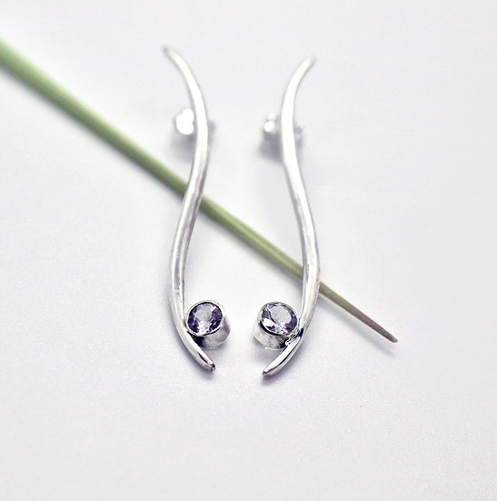 Elegant and Sleek Silver Earrings with White Topaz Gemstone
