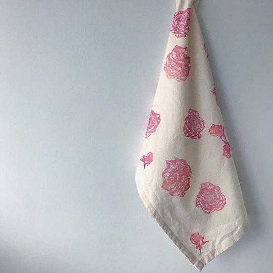 Rose Design Organic Cotton & Bamboo Tea Towel