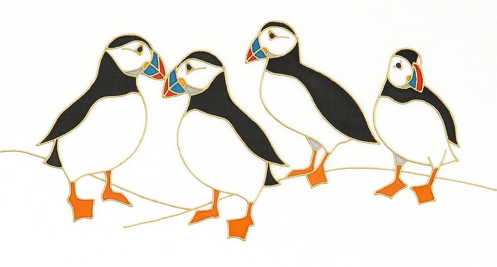 'Puffin IV' Limited edition Print of an original silk painting