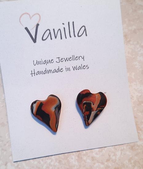 Burnt Orange Heart Stud Earrings