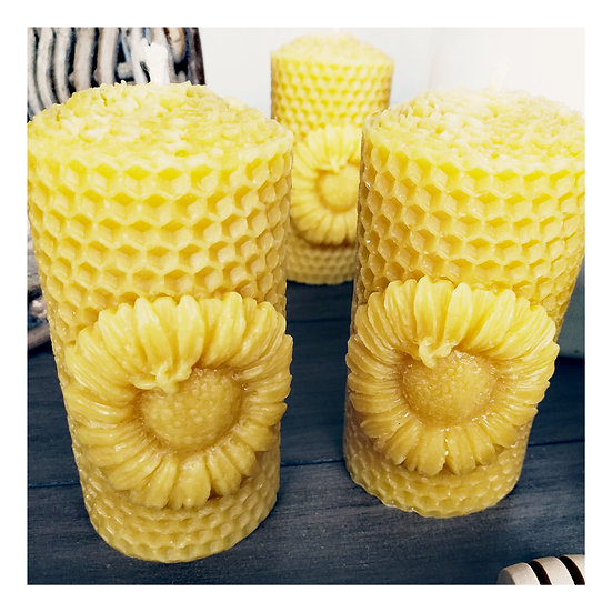 Pair of Sunflower Beeswax Candles