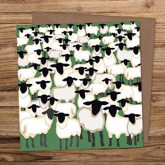 Crowd of Sheep Greeting Card