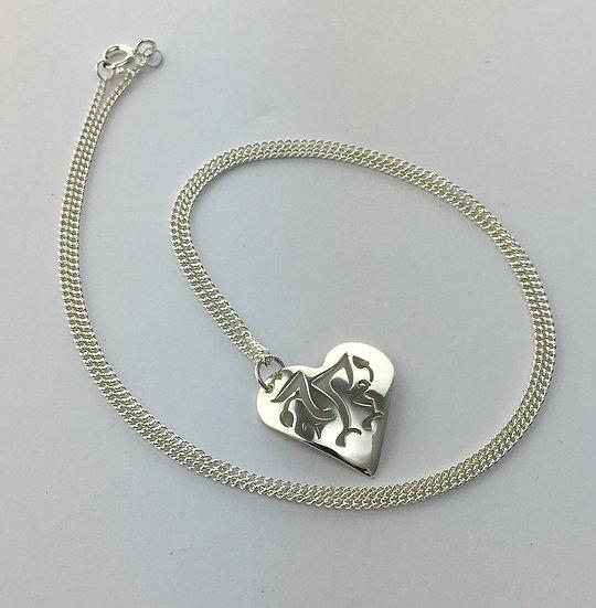Sterling Silver Welsh Dragon heart shape pendant