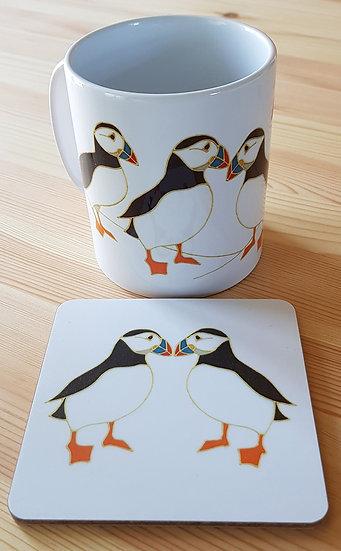 'Puffin V' Mug and Coaster Set