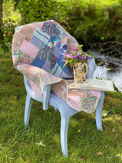 Liberty Cotton Nuno Felted Patchwork Throw