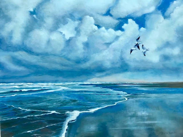 'Llanddwyn Kittiwakes' Original Oil Painting