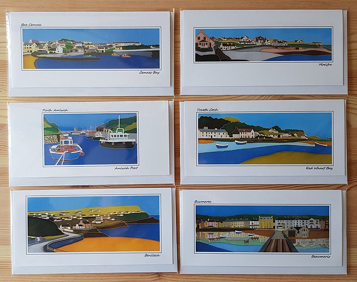 Set of Six Bilingual Welsh Landscape Greeting Cards