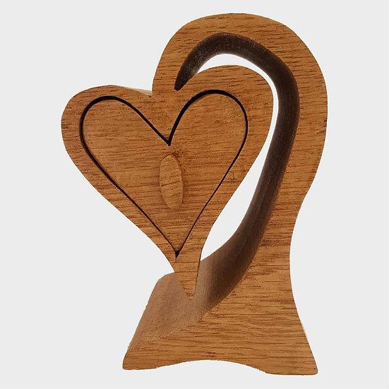 Hanging Heart Oak Trinket Box