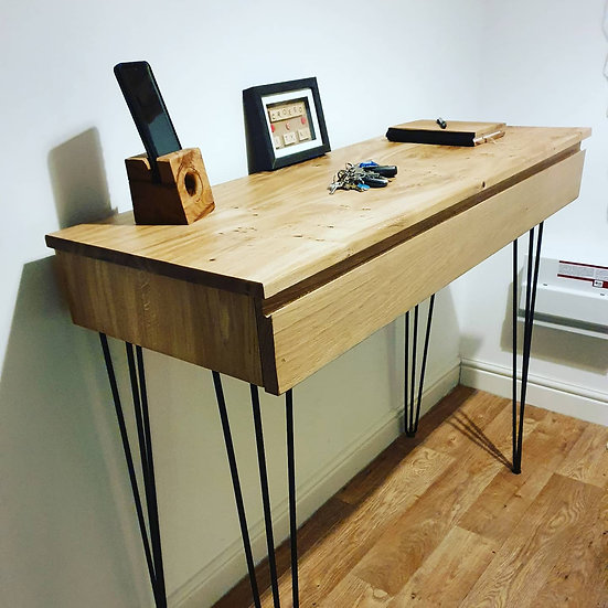 Solid Oak Table With Soft Close Drawer