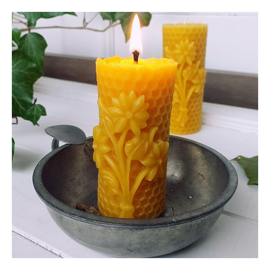 Pair of Beeswax Candles featuring a Spring Bouquet