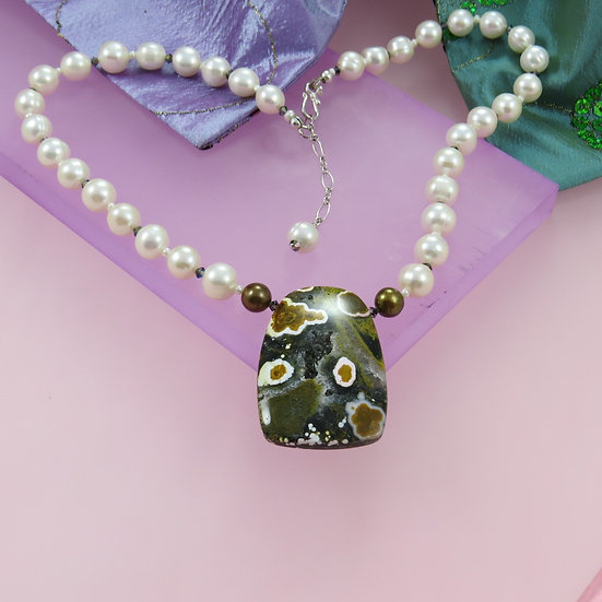 Freshwater Pearl with Ocean Jasper Necklace