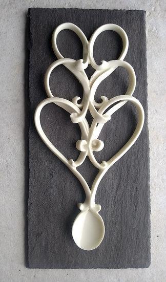 Porcelain Triple Heart Love Spoon - Slate Mounted