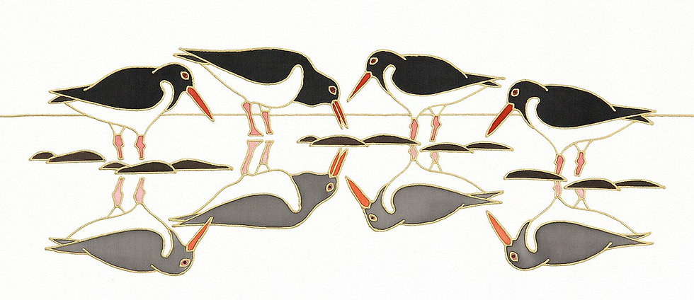 'Oystercatchers on Reflection' Limited edition print of original silk painting