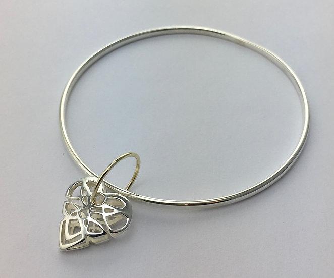 Full Celtic Knot Heart Shape Charm Bangle.