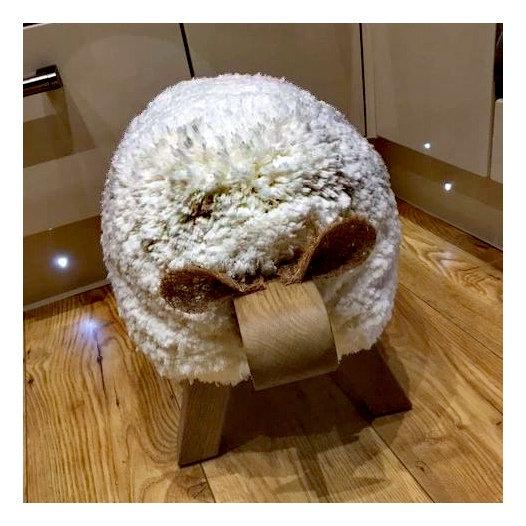 Gwynedd Cream Sheep Footstool