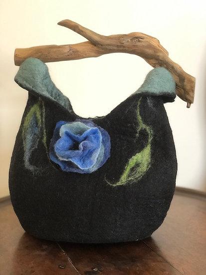 Merino and Driftwood Felt Bag - Blue