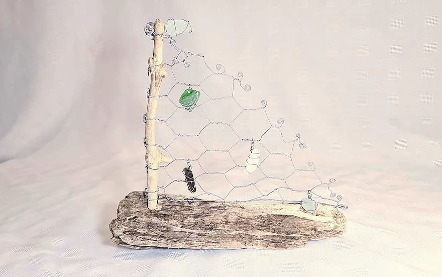 Driftwood and Sea Glass Boat