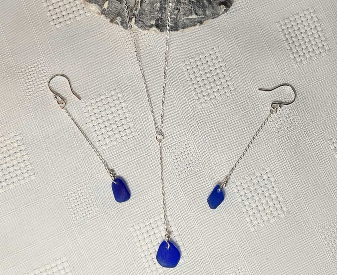 Cobalt Blue Small Necklace & Matching Earring Set
