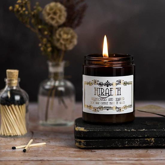 Hiraeth Candle in amber glass jar