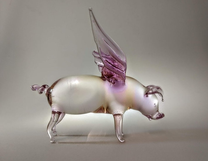 Glass Pink Flying Pig