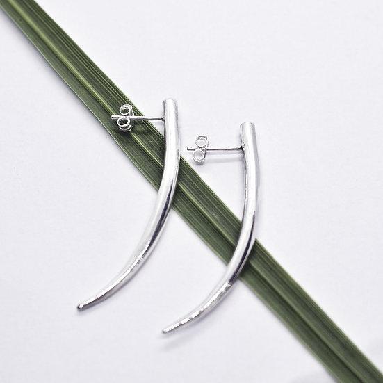 Elegant and Sleek Silver Horn and Tanzanite Gemstone Earrings
