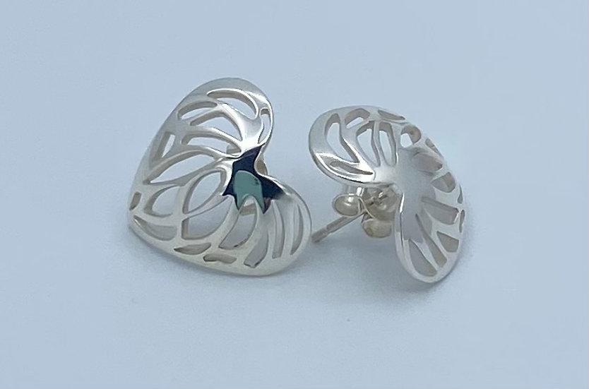 Heart Shape Sterling Silver Stud Earrings
