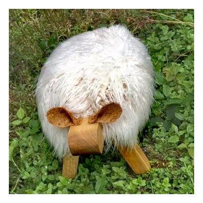 Highland White Sheep Footstool