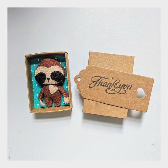 Miniature Felt Sloth in a Matchbox