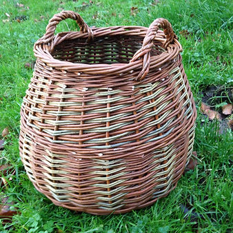 Bulbous block weave log basket.JPG