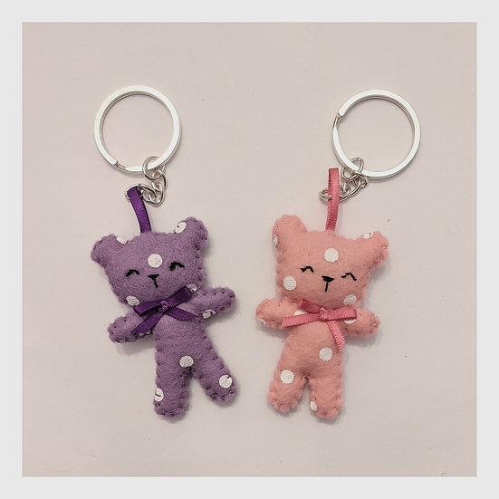 Miniature Felt Teddy Bear Keychain (1)