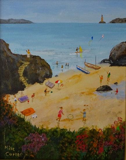 'Abersoch Beach Fun' Original Oil Painting