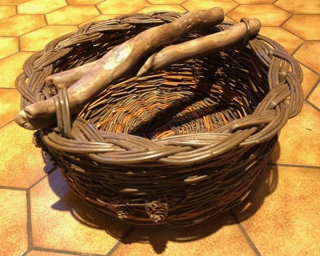 Woodhandled Woven Basket
