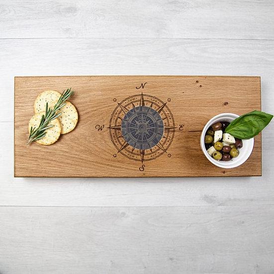 Solid Oak & Welsh Slate – Compass Serving Board