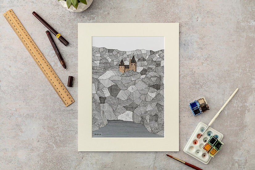 Castle Coch Large Mounted Print
