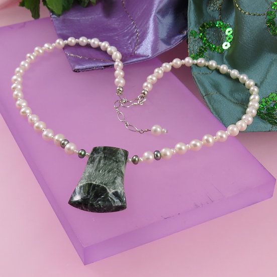 Seraphinite & Freshwater Pearl Necklace